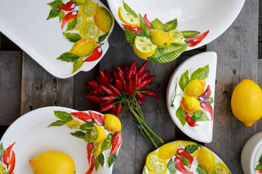 Insalatiere limoni decorate ceramiche edelweiss nove